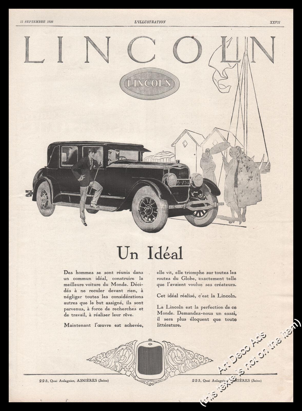 1926 Lincoln The ideal car BIG Original print ad - Z1