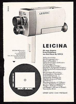 3w1683/ Alte Reklame von 1960 - LEICINA Super 8 Kamera