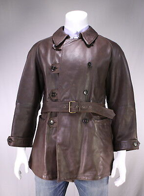 * GIORGIO ARMANI * Brown Calf Leather w/ Wool Lined Padded Coat~ Medium