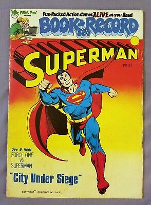 SUPERMAN, CITY UNDER SIEGE, BOOK AND RECORD, PETER PAN, POWER RECORDS 1978 PR34](Supermans City)