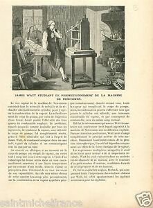 "James Watt Machine of New Comen / Factory Soho Birmingham GRAVURE OLD PRINT 1896 - France - Commentaires du vendeur : ""UNE FEUILLE RECTO-VERSO."" - France"