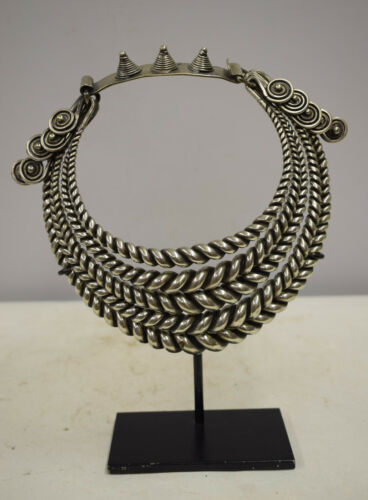 Miao Hill Tribe Chinese Silver 4 Band Twisted Silver Collar Necklace