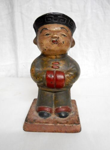 Unusual Antique Cast Iron Doorstop Chinese Man