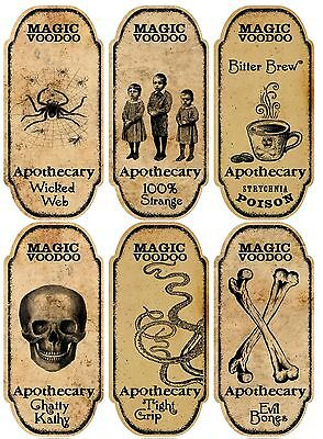 Voodoo Decorations Halloween (Halloween 6 large magic voodoo apothecary bottle labels stickers)