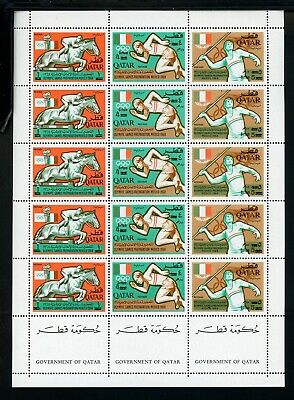 Qatar Scott #120 MNH SHEET of 5 STRIPS SCHG OLYMPICS 1968 Mexico City CV$325+