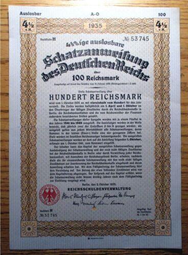 "NAZI GERMANY - 1935 - 100 RM BOND - 4.5%   #53745. AU - 8.25"" x 11.75""    NTC"