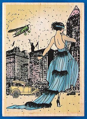 1920s Flapper Rubber Stamp by Hampton Art - Woman Fashion History New York Diva
