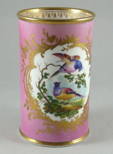 SPILL VASE, PORCELAIN , COALPORT ENGLAND, HAND PAINTED FRUIT AND BIRDS. c.1855