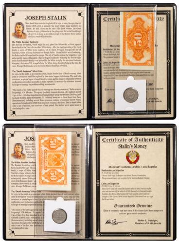 USSR 1925 Silver 20 Kopek Coin and 50 Kopek Banknote Set Album with COA SKU47196