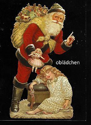 # GLANZBILDER # EF 5118 Bild - Karte / Riesenoblate: Weihnachtsmann mit Kind
