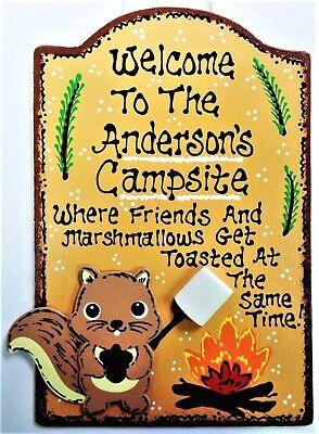 SQUIRREL CAMPSITE SIGN Personalize Name Camp Camper Camping Cabin Tent Plaque