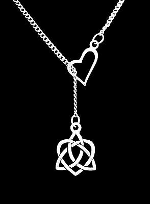 Necklace Celtic Knot Heart Irish Trinity Loyalty Friendship Gift Heart Lariat ()