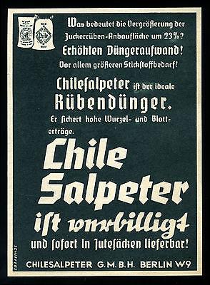 Alte Werbung Reklame 1937 (3) Chilesalpeter Dünger Düngemittel Landwirtschaft