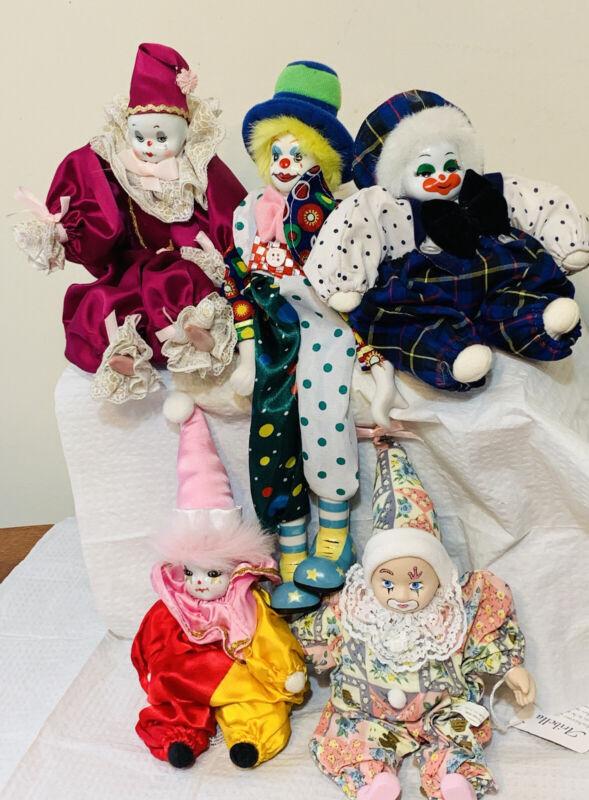 Lot of 5 Vintage Porcelain Dolls Clown Jester