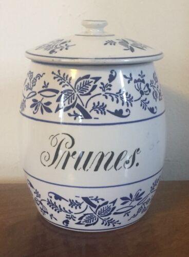 Antique German Porcelain Kitchen Canister Jar Blue Onion Pattern Prunes Germany