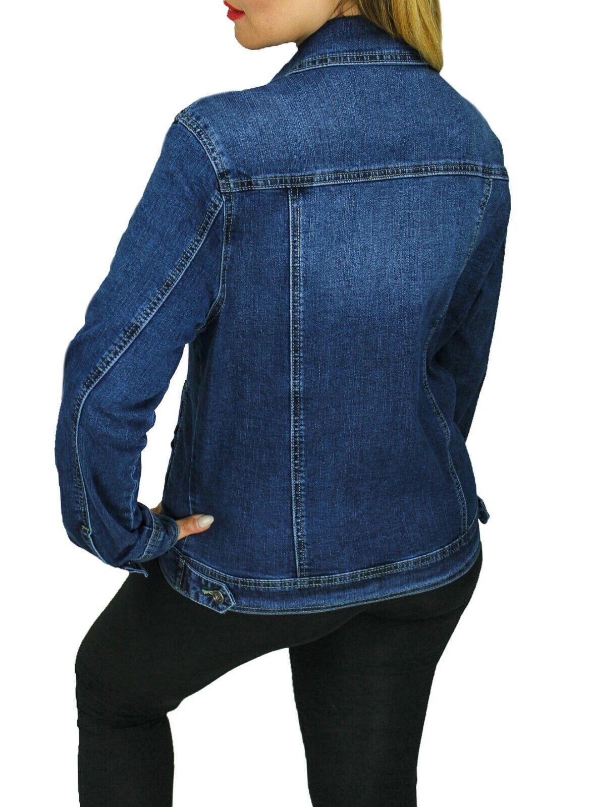Giacca giubbotto di jeans Diamond donna blu scuro Basic giubbino tessuto denim