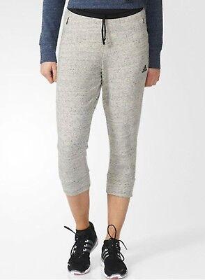 Jersey Yoga Capri Pant (Adidas Women Cotton Fleece 3/4 Pants Gray Training Capri Yoga GYM Jersey S93962)