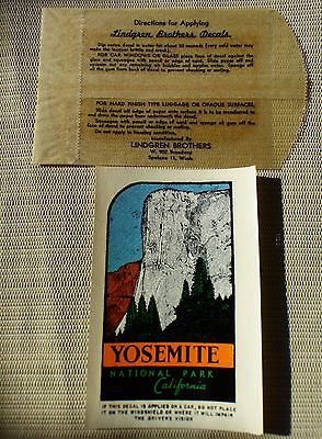 YOSEMITE NATIONAL PARK Vintage souvenir travel water window decal 1940s original