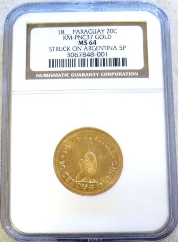 18(88) GOLD PARAGUAY PATTERN STRUCK ON ARGENTINA ARGENTINO NGC MINT STATE 64