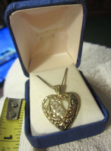 "Vintage sterling Silver Heart Necklace 18"" w original box,NOS,tarnished"