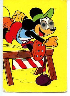 Disney Mickey Mouse-Track Hurdle-Google Moving Eyes Unusual Novelty Postcard