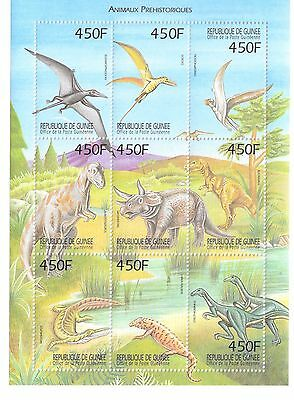 GUINEA-CONAKRY - PREHISTORIC ANIMALS,  1999 - SC 1525 SHEETLET OF 9 MNH