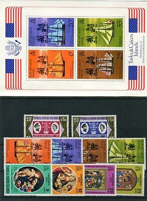 Turks & Caicos QEII 1977 Commemorative issues + MS MNH Jubilee Tracking Xmas