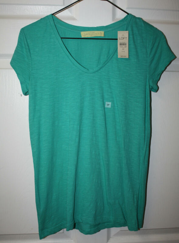 Womens Ladies Ann Taylor Loft Sunwashed Aqua Cap Sleeve T-Shirt Sz Small Petite