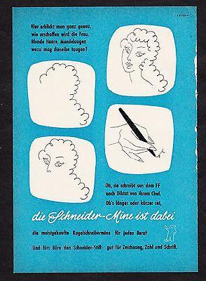 3w1404/ Alte Reklame von 1959 - Die SCHNEIDER-MINE ist dabei