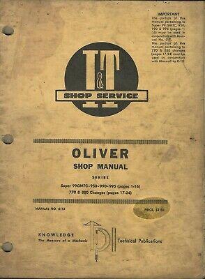 It Oliver Series Super 990mtc 950 990 995 770 880 No. O-13 Tractor Shop Manual