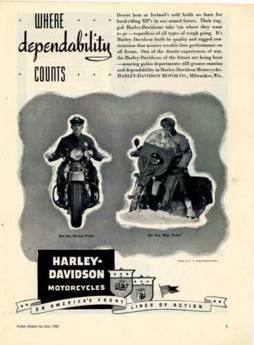 1945 Harley Davidson Police Motorcycles Ad: World War Two - Home Front War Front