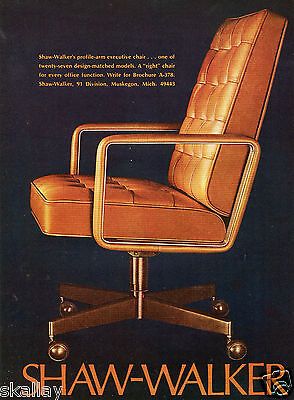 (1972 Print Ad of Shaw Walker Office Furniture Profile-Arm Executive Chair)