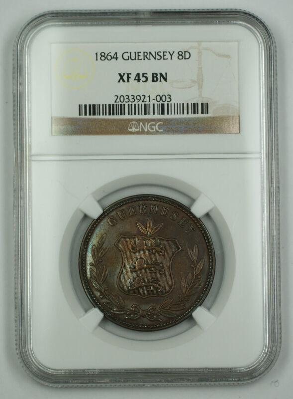 1864 Guernsey 8 Doubles Coin NGC XF-45 BN AKR