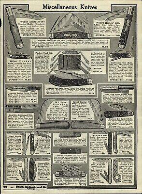 1919 PAPER AD Wilbert Daniel Boone Hunting Knife Sheffield Bowie Press Button