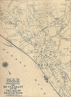 Ossining Briarcliff Manor Mariandale NY 1911 Maps with Homeowners Names Shown