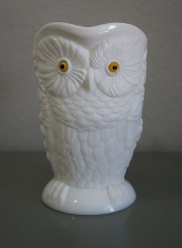 Antique Large Milk Glass Water Pitcher Owl Glass Eyes Late 19th Century Rare
