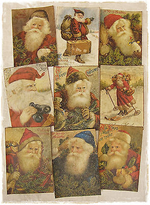 Set of 18 VINTAGE LOOK CHRISTMAS LABELS VICTORIAN SANTA Primitive/Grungy