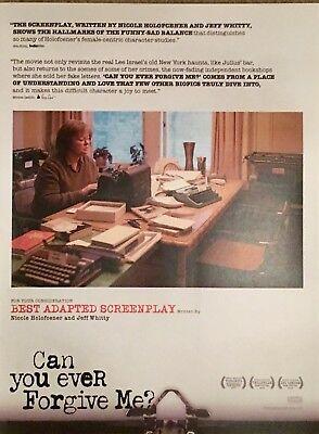 CAN YOU EVER FORGIVE ME? Oscar advertisement Melissa McCarthy Academy Award ad
