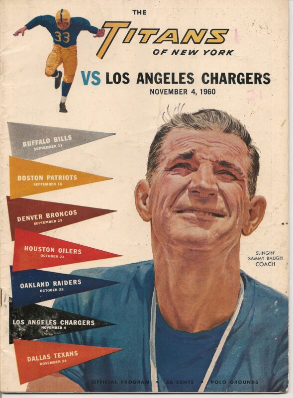 1960 New York Titans-Chargers Program AFL First Year Chargers Win NICE!!