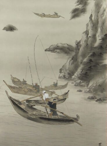 HANGING SCROLL Fisherman JAPANESE PAINTING JAPAN INK VINTAGE catch fish 422h