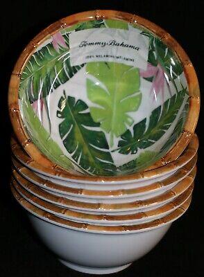 Tommy Bahama Bird Of Paradise Palm Leaves Bamboo Rim Melamine Bowls Set Of 6 Bird Of Paradise Leaves