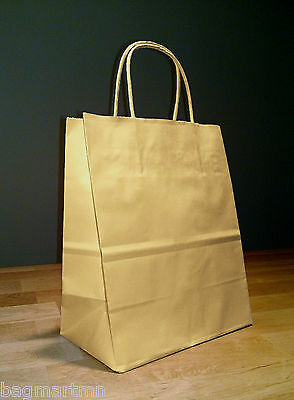 8 x 4.75 x 10.5 Kraft Brown Paper Cub Shopping Gift Bags with Rope Handles - Brown Paper Bags With Handles