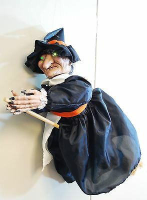 "HALLOWEEN 24"" SONIC Xanthippe - ANIMATED SHAKING ON BROOM LIGHTED EYES SOUNDS PROP"