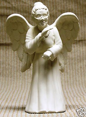 Ceramic Bisque Gossiping Granny Angel Scioto Mold 3147 U-paint Ready To Paint