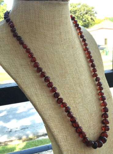 Vintage Cherry Amber Graduated Hand Knotted Bead Necklace - 26 Inches Long