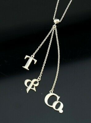 Vtg Sterling Silver Authentic T&CO Tiffany Logo Motif Charm Necklace