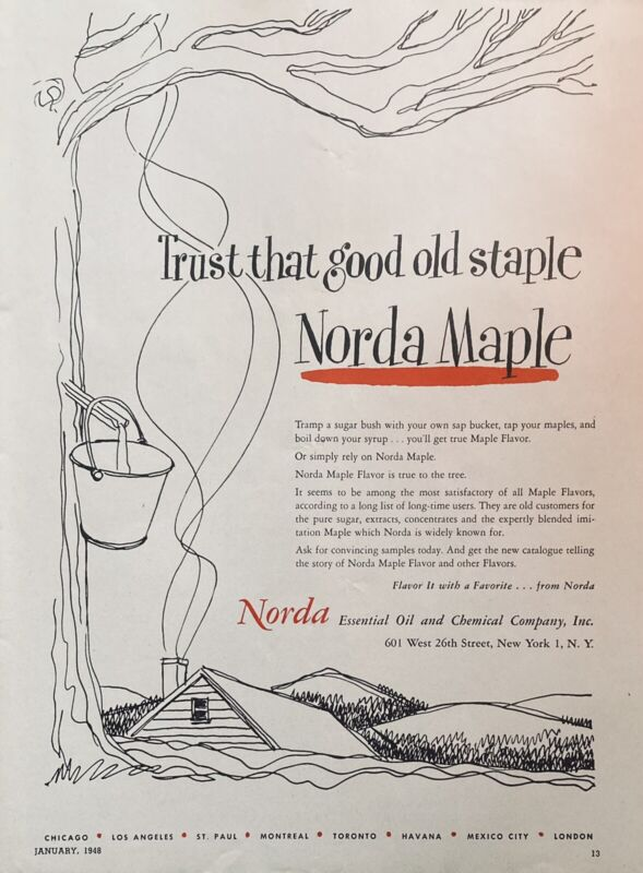 1948 AD(L13)~NORDA ESSENTIAL OIL & CHEMICAL CO. NYC. NORDA MAPLE FLAVOR