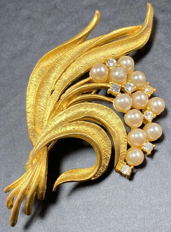 "ORA Signed Vintage Brooch Pin 3"" Gold Tone Glass Pearls Crystal Rhinestones"