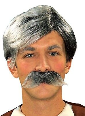 Grey Moustache And Wig (Gepetto Grey Wig And Moustache - Adult Std.)