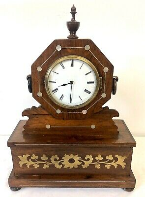 Antique French Rosewood & Mother of Pearl & Brass Inlaid Mantel Bracket Clock